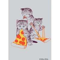 Kitties Eating Pizza Rectangular Magnet