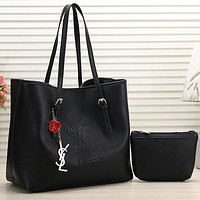 YSL Yves Saint laurent Women Fashion Leather Tote Crossbody Satchel Set Two Piece