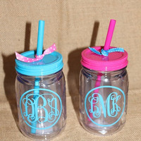 Personalized Mason Jar Tumbler by BeachyMommas on Etsy