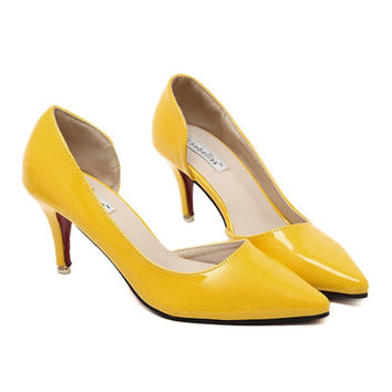 Thin Shoes Pointed Middle Heel Women Shoes  yellow