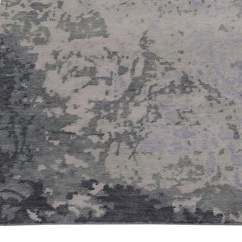 Abstract Grey and Light Blue Color Hand Knotted Tibetian Wool Area Rug