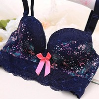 Bra Set With Steel Wire Print Underwear Mat [9007929795]