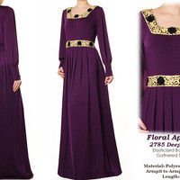 2785 Gold Floral Applique Lace Jersey Long Sleeved Islamic Abaya Maxi Dress- Plus Size 1X/2X PURPLE