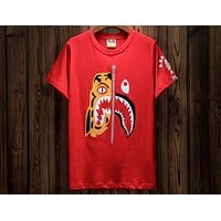 Bape personality tide brand tiger head stitching shark round neck short-sleeved T-shirt F-A-KSFZ Red