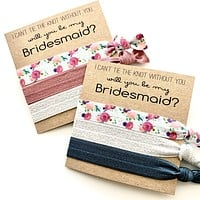 Bridesmaid Proposal Favors, will you help me tie the knot, hair tie favors, bridal party gift, bridesmaid proposal idea, Maid of Honor gift