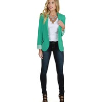 Promo- Mint Striped Boyfriend Blazer