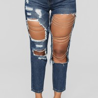 Caught Feelings High Rise Boyfriend Jeans - Dark Denim