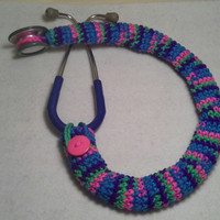 Bright Color Mix with Pink Button Stethoscope Cover, Nurses Stethoscope Covers, LPN, RN, CNA, medical fashion accessories, crochet