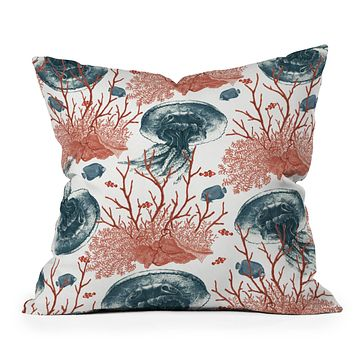 Belle13 Coral And Jellyfish Throw Pillow