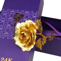 Best Gift for Girl Friend Birthday Anniversary Graduation Mom Mothers Day Valentines Day Present Luxury Creative Gold Flowers Rose for Love Ones _ 844