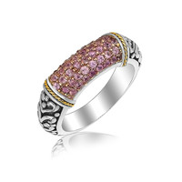 18K Yellow Gold and Sterling Silver Scrollwork Style Ring with Pink Amethysts: Size 7