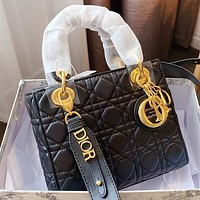 Wearwinds Dior New fashion solid color leather shoulder bag crossbody bag handbag Black