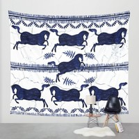 Ancient Greek Fresco - Navy Wall Tapestry by Perrin Le Feuvre   Society6