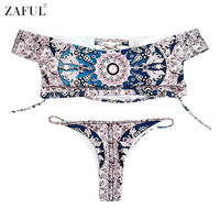 ZAFUL 2017 Women Off The Shoulder Swimwear Rose Print Lace-up Bikini Set Summer Sexy Swimsuit Bathing Suits Maillot De Bain