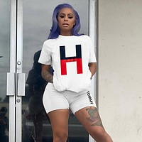 TOMMY HILFIGER Classic Hot Sale Women Casual Print Short Sleeve Top Shorts Set Two Piece Sportswear