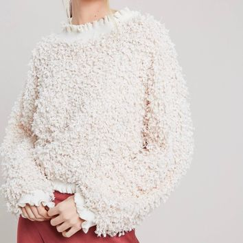 Textured Mock Neck Pullover With Ruffle Hem in Natural