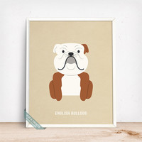 English Bulldog Print, English Bulldog Poster, Dog Print, Dog Breed, British Bulldog, Bulldog, Dog Decor, Home Decor, Fathers Day Gift