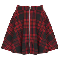 **Red Tartan Zip Front Skater Skirt ...