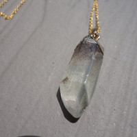 Crystal Quartz Raw Point Gold Pendant  Necklace