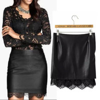 Black Faux Leather Lace Bodycon Mini Skirt