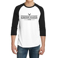 United States Air Force- 3/4-Sleeve Raglan Fitted Baseball Tees for Young Men - XS ~ 4XL