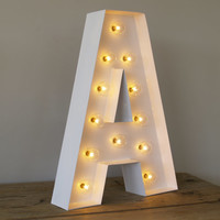 San Serif A with Holywood Lights : Carnival Letters Light Up Letter Lamp and Marquee Letter Sign