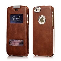 iPhone 6 Case, [Vintage Hero Series] [Genuine Leather] Flip Cover Folio Case [Ultra Slim], Leather Case [View Window] with Magnetic Closure for iPhone 6 4.7 inch (Brown)