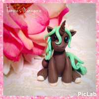 Adorable Unicorn custom polymer clay Miniature Thin Mint Dessert pony horse figurine by Tempies Menagerie