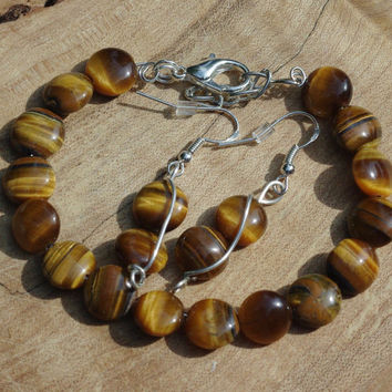 Tiger Eye Bracelet and Earring Set ~ Tiger Eye Stones ~ Semi Precious Stones ~ Hand Wired ~ Birthday Gift ~ Anniversary Gift ~ Gift for Her