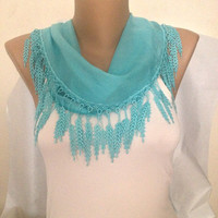 Blue Scarf - Wedding Scarf - Bridesmaids Lace Scarf - Blue Accessories Leaves