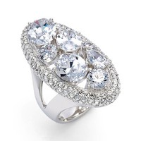 Women's Nadri Oval Pave Ring - Silver