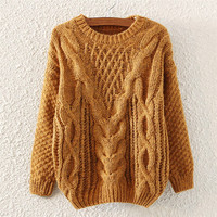 Brown Crew Neck Cable Knitted Pullover