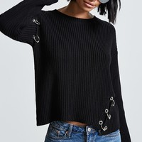 Pierced Sweater-Knit Top
