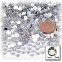 The Crafts Outlet 144-Piece Flat Back Loose Acrylic Round Rhinestones, 5mm, Crystal Clear