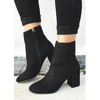 Malone Suede Round Toe Chunky Heeled Booties