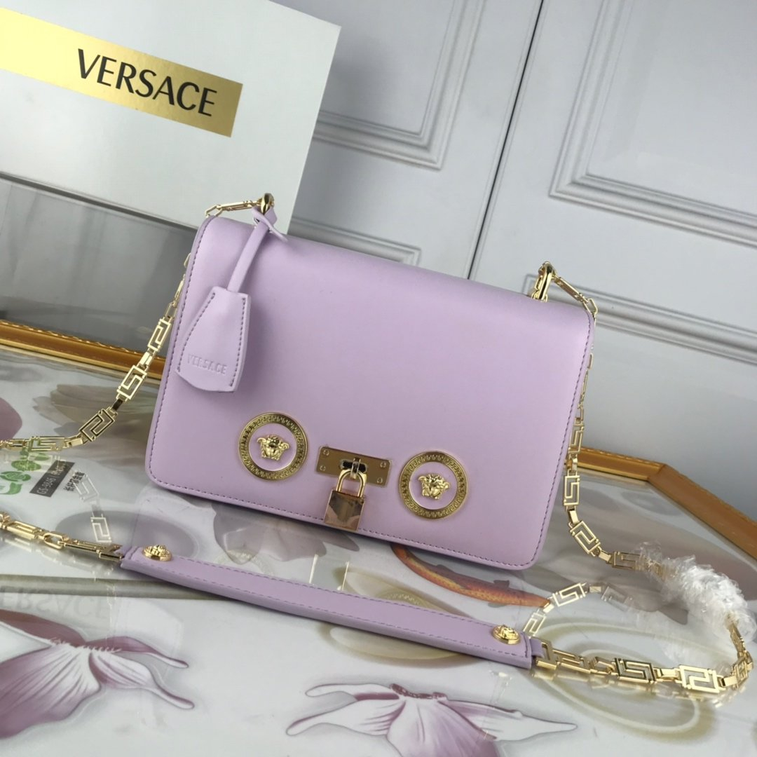 Image of VERSACE WOMEN'S LEATHER 303K1 INCLINED CHAIN SHOULDER BAG