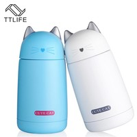 TTLIFE Thermos Cup Cartoon Moe Cat Thermo Mug Drinkware Kids Water Bottle Stainless Steel Vacuum Leak-proof Insulation Cup 330ml