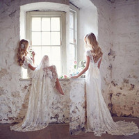 robe de mariage White Lace Backless Boho Wedding Dresses 2017 Sweetheart Cap Sleeves Wedding Gowns vestido de casamento