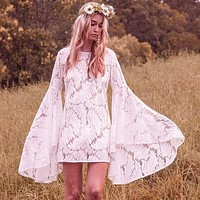 Solid Color Fashion Lace Round Neck Long Sleeve Pagoda Sleeve Mini Dress