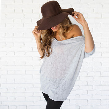 Autumn Knit Tunic Top In Grey