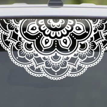 Mandala Decal Flower Decal Car Decal Lacey Laptop Sticker  Half Mandala Floral Hippie Seed of Life pretty fractal  psychedelic decal