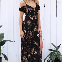 Embroidery V-neck Print Split One Piece Dress [9629689037]