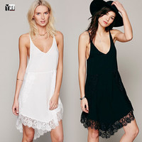 2016 Hot sale Simple version sexy women lace slip dress white and black Summer Dresses woman dresses lady dress free shipping