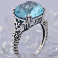 925 sterling silver socialite princess ring wind restoring ancient ways created aquamarine Game of Thrones ring