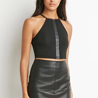 Faux Leather-Paneled Cami