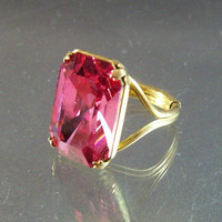 Vintage Art Deco style 12K Gold Filled Cocktail Ring, Faceted Pink Crystal Setting