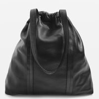 Premium Leather Drawstring Tote Bag | Topshop