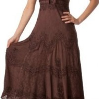 AA4012 - Stonewashed Rayon Embroidered Adjustable Spaghetti Straps Long Dress ( Various Colors & Sizes ) - Choclate/S/M