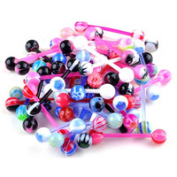 10X Mixed Aryclic Ball Tongue Nipple Bar Ring Barbell Body Piercing Jewelry