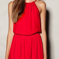 Halter Neck Plain Dress